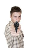 Man and gun. Young man with gun isolated on white focus on gun Royalty Free Stock Photos