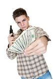 Money and gun. Young man with gun and money isolated on white Royalty Free Stock Photos