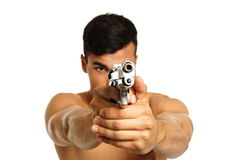 Young man with a gun Stock Image