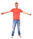 Young man guy casual style red t-shirt jaens isolated Stock Photos