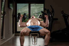 Young Man In Gym Exercising Chest With Dumbbells Stock Photos