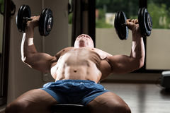 Young Man In Gym Exercising Chest With Dumbbells Royalty Free Stock Images