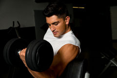 Young man in gym exercising with dumbbells Stock Images