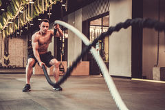 Young man in gym. Handsome muscular man is doing battle rope exercise while working out in gym Royalty Free Stock Images