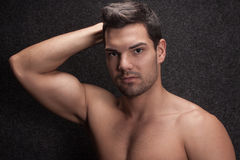 Young man half naked Stock Photos