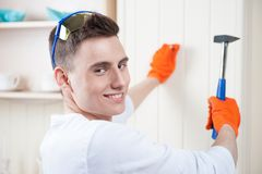 Young man with Hammer Royalty Free Stock Photos