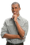 Young Man With Hand on Chin Stock Image