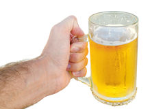 Young man hand holding a refreshing beer isolated on white Stock Image