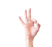 Young man hand OK sign with. White background Royalty Free Stock Image