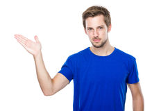 Young man with hand show with balnk sign Stock Photography