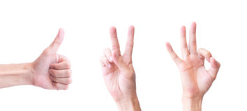 Young man hand show One Two Three for happy concept with white b Royalty Free Stock Image