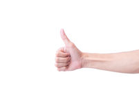 Young man hand thumbs up for good feeling with Stock Image