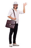 Young man with handbag and hat isolated on white Stock Photos