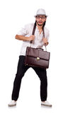 Young man with handbag and hat isolated on white Stock Photography