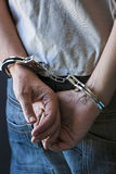 Young man in handcuffs Royalty Free Stock Photo