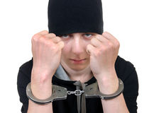 Young Man in Handcuffs Royalty Free Stock Image