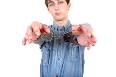 Young Man in Handcuffs Stock Photos