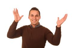 Young Man Hands Outstretched Royalty Free Stock Photos