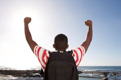 Young man with hands raised overlooking beach Stock Image