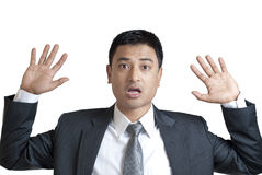 Young man with hands up Stock Photo