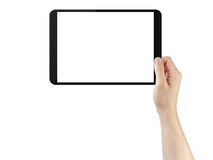 Young man hands using tablet pc with blank screen. Isolated on white Stock Photos