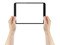 Young man hands using tablet pc with blank screen. Isolated on white Royalty Free Stock Image