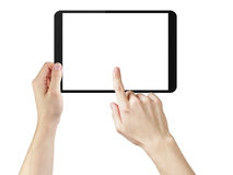 Young man hands using tablet pc with blank screen. Isolated on white Royalty Free Stock Photo