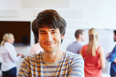 Young man happy about his start-up company royalty free stock images