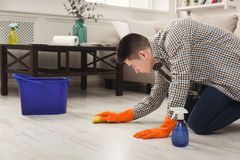 Young man cleaning home with detergents. Young man or happy husband cleaning home with towel and detergent in living-room. Housekeeping and tidying up concept stock photo