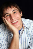 Young Man in Happy Mood. Upclose portrait stock image