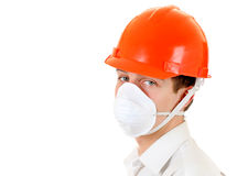Young Man in Hard Hat Royalty Free Stock Photos