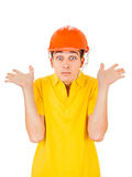Young Man in Hard Hat Stock Images