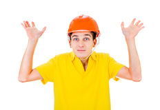 Young Man in Hard Hat Stock Image