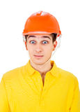 Young Man in Hard Hat Stock Photo
