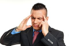 Young man has headache Royalty Free Stock Photo