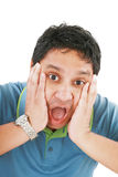 Young man has opened mouth from surprise Royalty Free Stock Photography