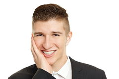 Young man has a toothache Stock Image