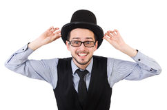 The young man in hat isolated on white Stock Image