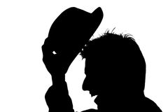 Young man with hat � silhouette Royalty Free Stock Photo