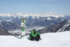 Young man have a rest on the ski slope. Stock Photography