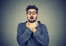 Free Young Man Having Asthma Attack Can`t Breath Stock Photography - 113897722
