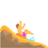 Young man having fun on a water slide in a water park in summer vacation cartoon vector Illustration. On a white background Royalty Free Stock Image