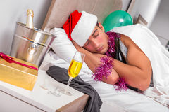 The young man having hangover after heavy partying Royalty Free Stock Image