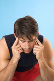 Young man having a headache Stock Photos