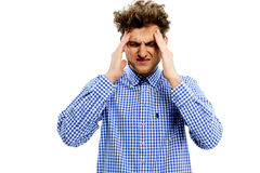 Young man having headache Stock Photo