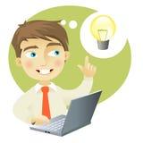 Young man having an idea. A young man with a computer having and idea (represented as a lightbulb Royalty Free Stock Photos