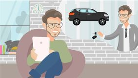 Vector illustration.Young man having idea how to collect money. The savings money from working. Business man. Hand holding the key royalty free illustration