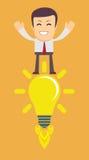 Young Man Having an Idea. Light bulb. Stock Vector illustration Royalty Free Stock Image