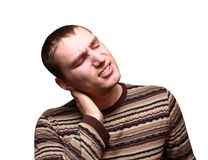 Young man having neck ache Stock Photography