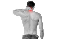 Young man having neck ache Royalty Free Stock Images